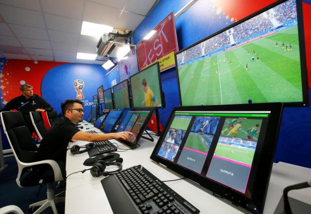 An interior view shows a video operation room (VOR), a facility of the Video Assistant Referee (VAR) system which will be rolled out for the first time at a World Cup, during a demonstration in Moscow.