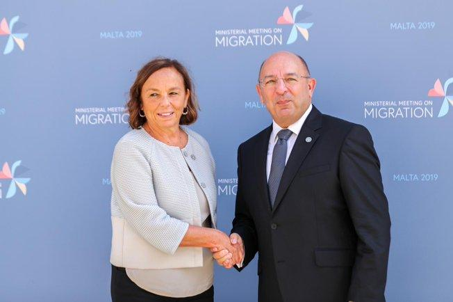 New Italian Interior Minister Luciana Lamorgese is greeted by Home Affairs Minister Michael Farrugia.