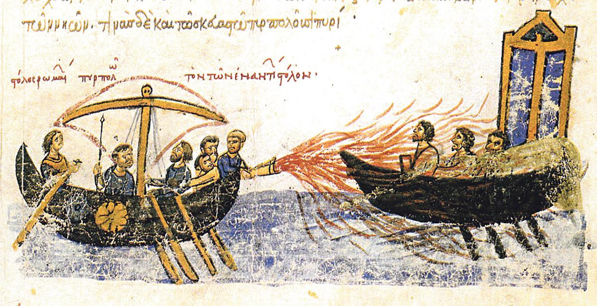 Greek fire kept Muslim fleets at bay for a number of years.