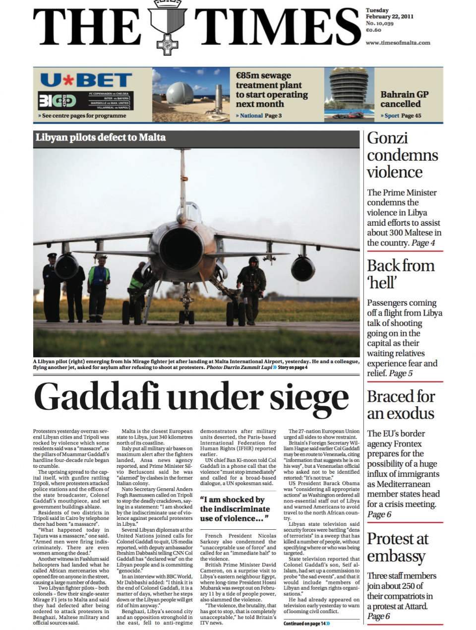 The day two Libyan fighter jets landed in Malta, the island was thrust into an international dispute.
