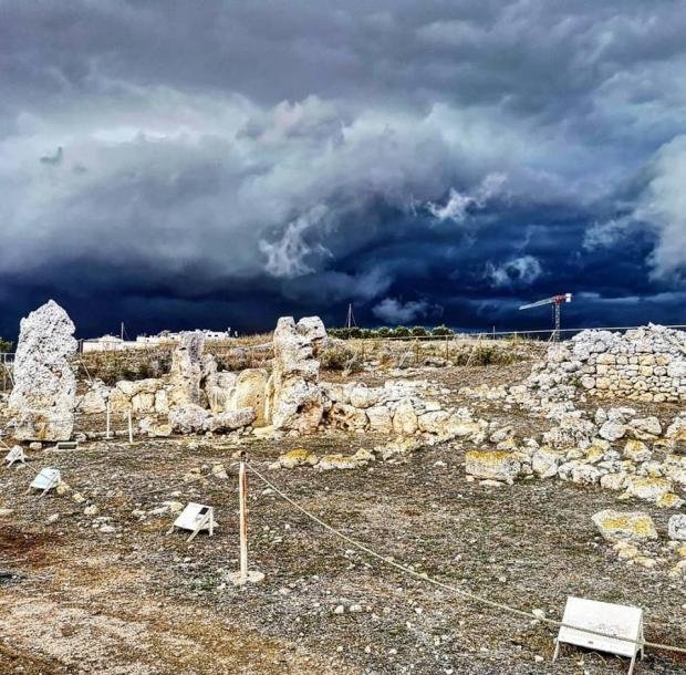 The gathering storm over Skorba temples (Pic by Jeremy Bennett)