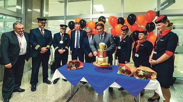 Air Malta chief executive captain Clifford Chetcuti (centre) celebrating the inaugural flight to Leipzig together with Tourism Minister Konrad Mizzi, chairman Charles Mangion, CCO Paul Sies, Captain Cedric Fenech Azzopardi and the crew of the first flight.