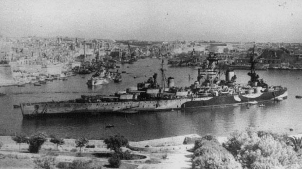 The British battleship Nelson, moored to No. 8 buoy in Grand Harbour. It was moored in the same place when the final Italian armistice document was signed on board the ship on September 29, 1943.