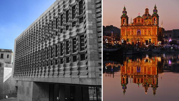 New Parlament House. Photo: Adrian Farrugia. Right: Msida feast. Photo: Saviour Brincat