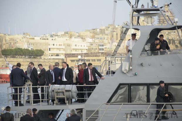 Representative of the European Union for Foreign Affairs and Security Policy Federica Mogherini and EU Defence Ministers board a Maltese patrol boat in the Grand harbour in Valletta on April 26. Photo: Mark Zammit Cordina