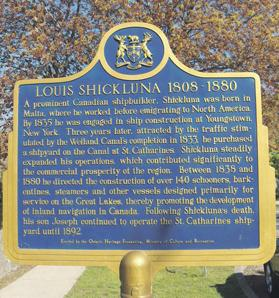 The historical plaque on Shickluna near the Welland Canal, Canada.
