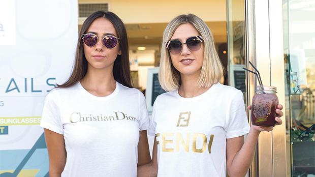 Models wearing Dior and Fendi sunglasses.
