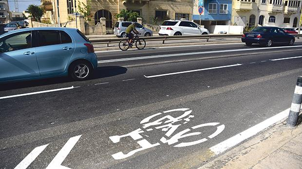 Cyclists and motorists have already voiced concern about the shared lane in Żebbuġ. Photo: Mark Zammit Cordina