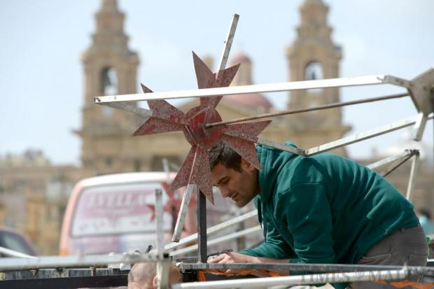 A enthusiast prepares fireworks for the ground display on the Granaries in Floriana on April 8. Photo: Matthew Mirabelli