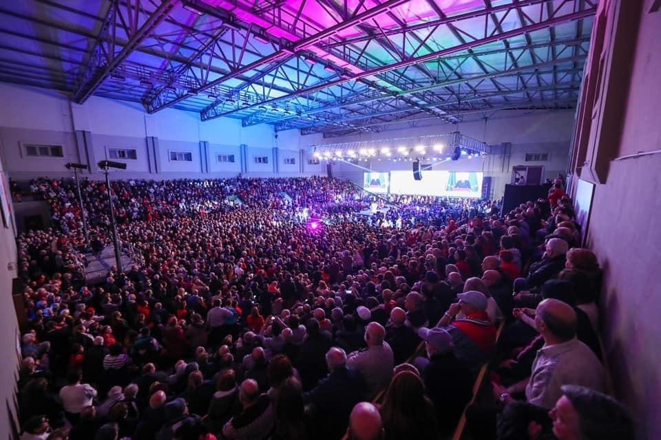 Thousands packed the sports pavilion to listen to Joseph Muscat. Photo: Matthew Xuereb