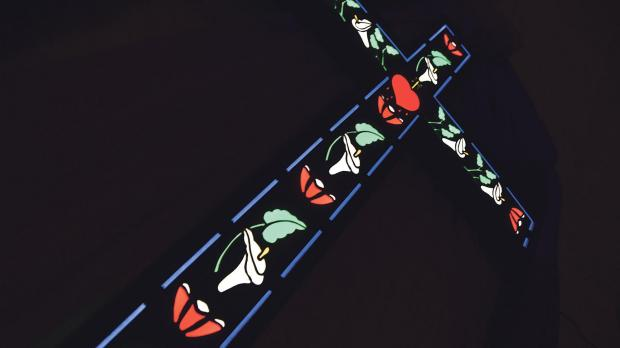 Coloured perspex is used to create stained glass crafts.