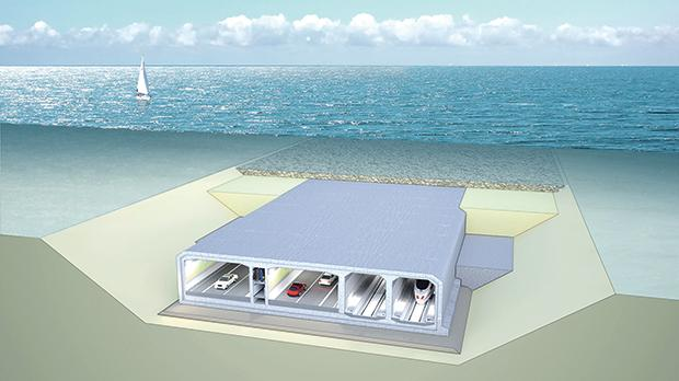 A cross section of an immersed tunnel, similar to the one being proposed by the Malta Gozo Fixed Link Consortium.