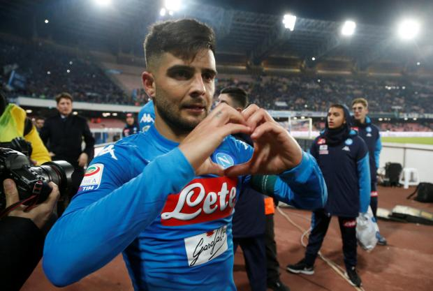 Napoli's Lorenzo Insigne celebrates after the match.
