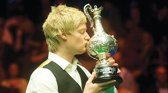 Neil Robertson with the Grand Prix trophy.