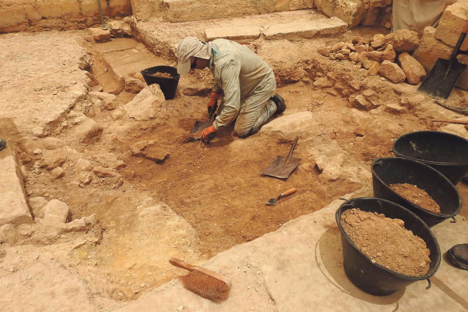 The current excavations revealed ancient remains beneath the floor of a 19th-century farmhouse.