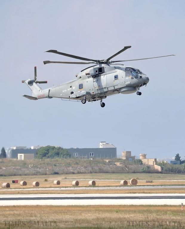 A Royal Navy AgustaWestland Merlin carrying UK Defence Secretary Michael Fallon lands at the AFM Airwing base at Malta International Airport on June 6. Photo: Chris Sant Fournier