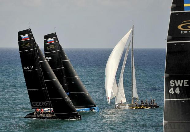 Sailing yachts battle for position at the RC44 Championship Tour leg in Grand Harbour on November 23. Photo: Chris Sant Fournier