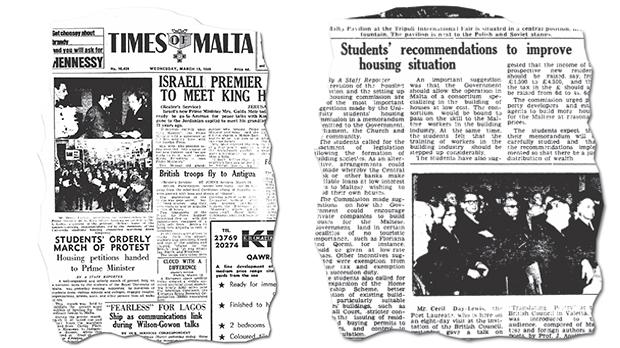 The march was reported on the front page of the Times of Malta of March 19, 1969. Right: An article in the Times of Malta of March 20, 1969, highlighting the recommendations in the students' memorandum.