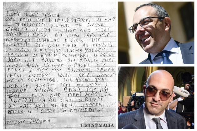 Middleman's letter links Schembri and Fenech to Daphne murder