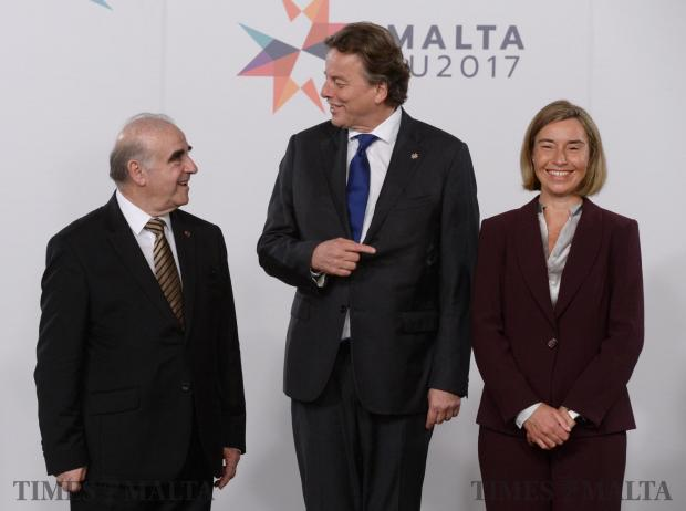 The Netherlands Minister of Foreign Affairs, Bert Gerard Koenders (centre) is greeted by HRVP Federica Mogherini (right) and Malta Minister of Foreign Affairs George Vella (left) at the start of The Informal Meeting of Foreign Affairs Ministers in Valletta, Malta on April 28. Photo: Matthew Mirabelli