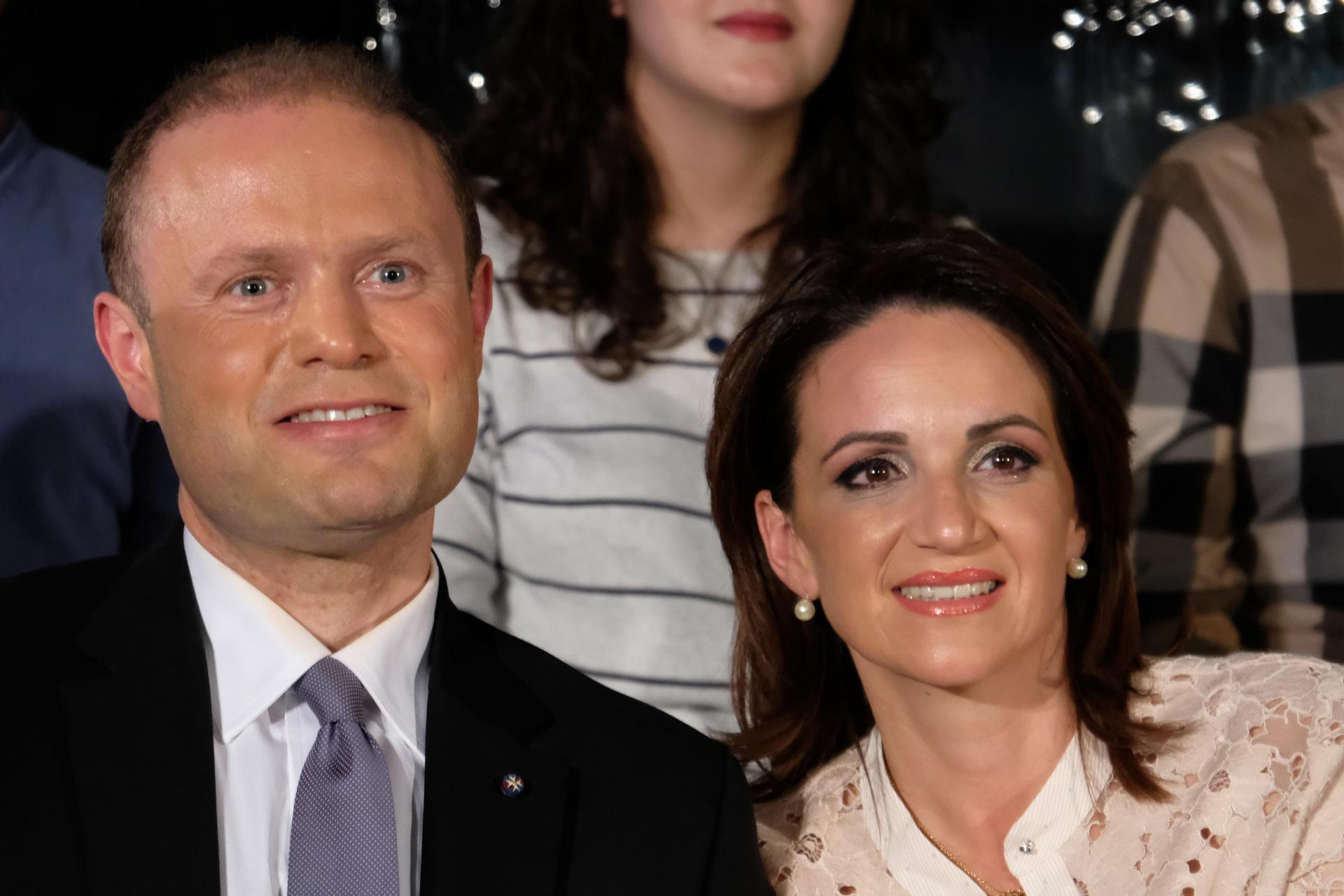 Joseph Muscat and his wife Michelle. He said the days of the Egrant claims were the 'darkest' of his premiership.