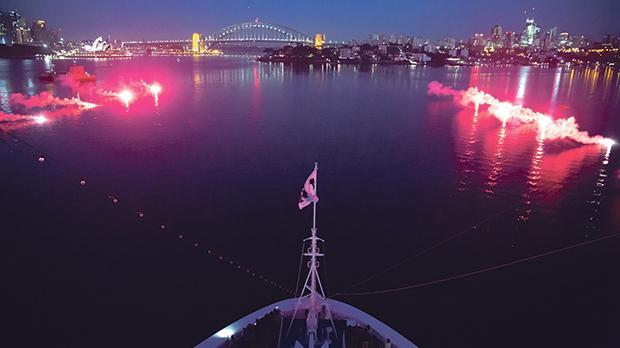 The Majestic Princess sailing into Sydney Harbour.