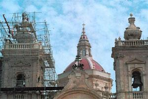 Xaghra basilica undergoing restoration works to the bell tower