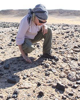 Eleanor Scerri at work on the Al Wusta site.