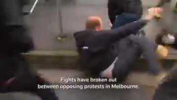 Watch: Police use pepper spray as nationalists clash with anti-racism protesters