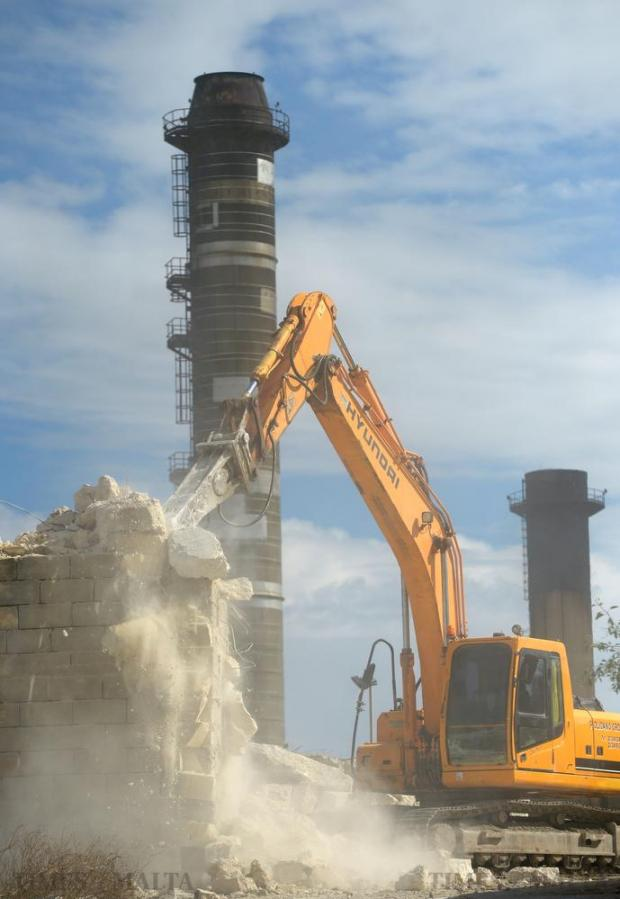 A crane demolishes a part of the Marsa power station on October 28 as parts of the 1953 station are leveled and will be replaced by a new substation to divert energy to the Marsa-North area. Photo: Matthew Mirabelli