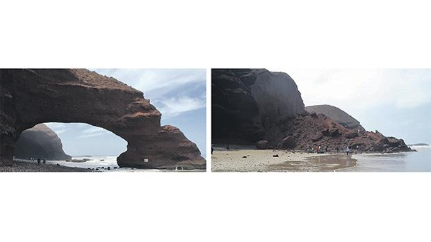 The collapse of the Legzira Beach Arch in Morocco.