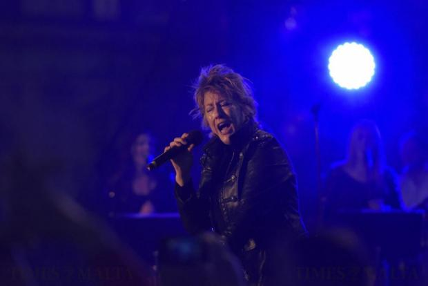 Katrina Leskanich from the band Katrina and the Waves, winners of the Eurovision Song Contest in 1997, entertains fans at the Eurovision village in Stockholm on May 11. Photo: Mark Zammit Cordina