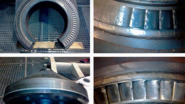 Pictures tabled by Joe Mizzi which he said show sections of the damaged turbine.