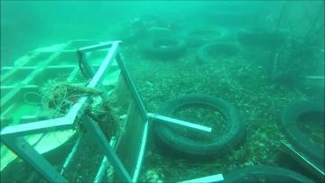 Watch: Plastic galore and even metal barriers await divers for St Paul's Bay clean-up | There's a lot for divers to collect. Video: Raniero Borg/Facebook