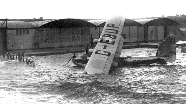 Sir Alan Cobham's Short Singapore G-EBUP is rescued from the raging seas off Calafrana on November 25, 1927 following a flight from St Paul's Bay for refuelling.
