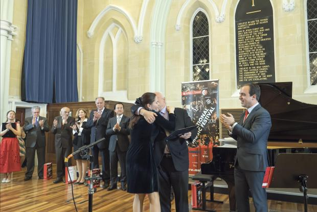 Ms Ulaieva collects her €100,000 prize at Robert Sammut Hall. Photo: Claire Jackson