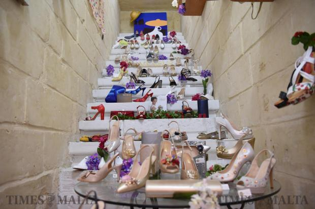Shoes are displayed on stairs in a shop in Valletta on May 19. Photo: Mark Zammit Cordina