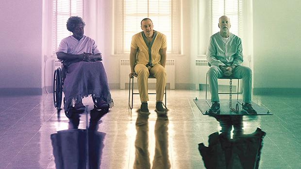 From left, Samuel L. Jackson, James McAvoy and Bruce Willis reunite for the final instalment in M. Night Shyamalan's trilogy.