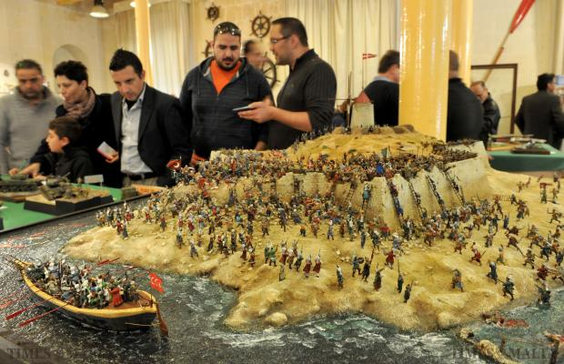 A model scene of the Great Siege forms part of the annual exhibition of scale modellers at the Maritime Museum in Vittoriosa on February 10. Photo: Chris Sant Fournier