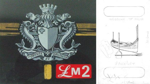 Artwork by Emvin Cremona for the Lm2 decimal definitive issue stamp. Courtesy of Heritage Malta/Maltapost. Right: 1975 preliminary sketch by Edward Abela for a new passport, which eventually became the emblem of the Republic.