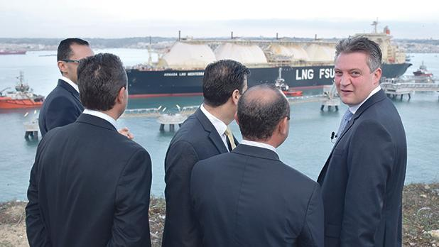 Konrad Mizzi witnesses the arrival of the LNG tanker in Marsaxlokk. Photo: Mark Zammit Cordina