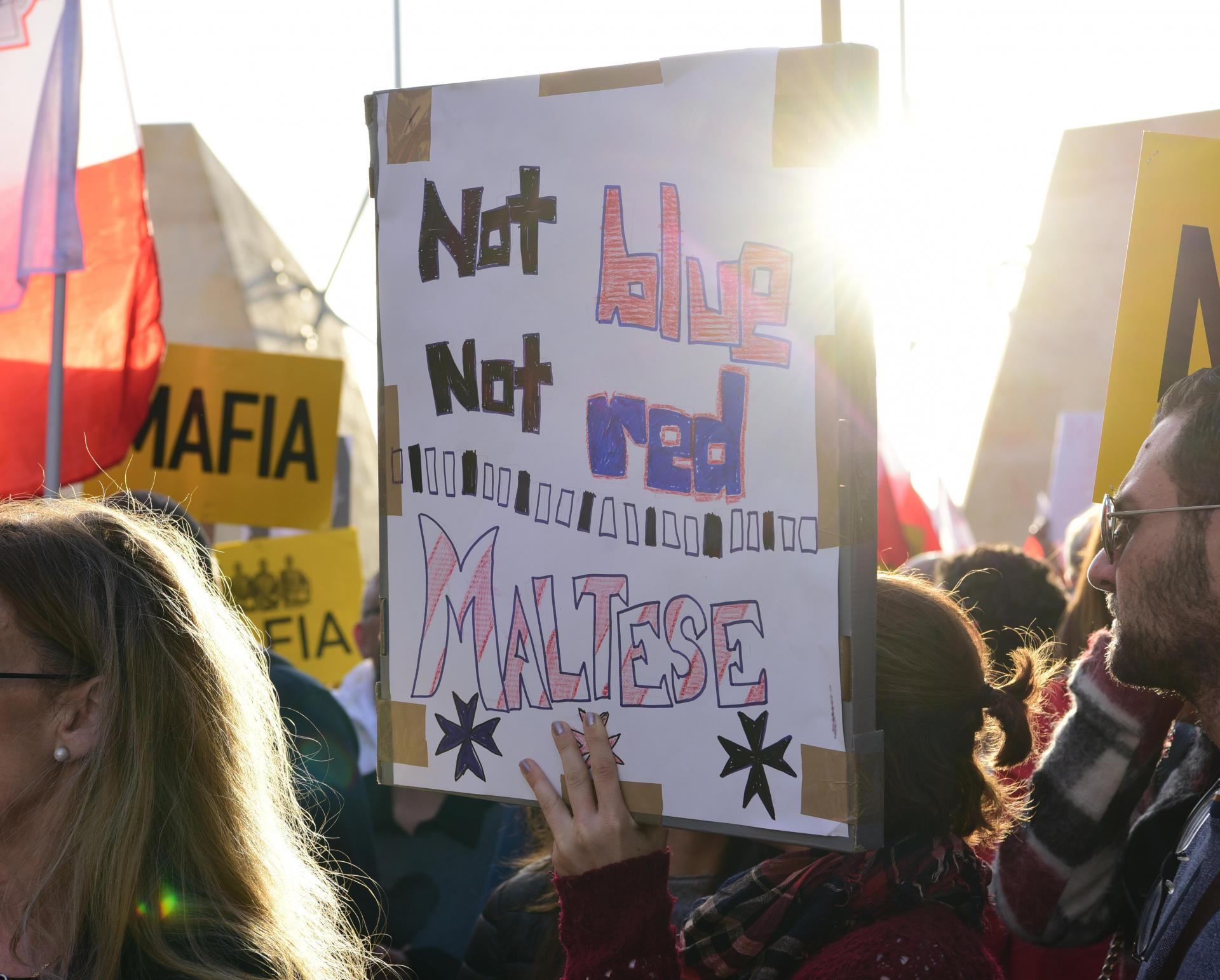 A poster held during last Sunday's mass protest calling for Joseph Muscat to resign. Photo: Mark Zammit Cordina