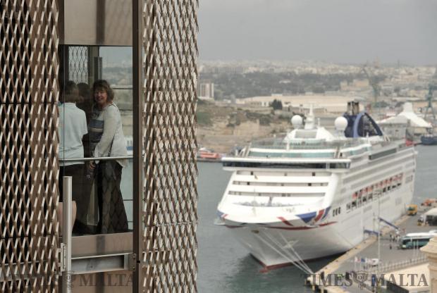 Tourists take the Barrakka lift on May 17. Photo: Chris Sant Fournier