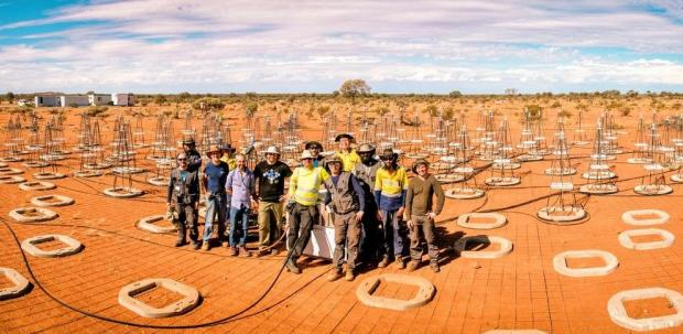 The international team installing the SKA's first prototypes in the Australian desert. Credit: ICRAR-Curtin University