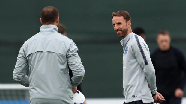 England manager Gareth Southgate during training.
