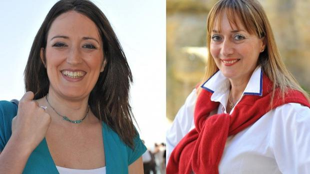 Roberta Metsola, left, and Marlene Mizzi.