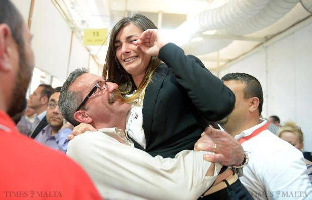 Labour Mayor Rosianne Cutajar is overcome with emotion after securing her position as Mayor of Qormi at the Local Council Elections in Naxxar on April 18. Photo: Matthew Mirabelli