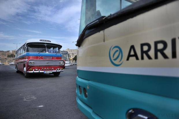 The iconic Zabbar vintage bus bus that has stood the test of time, is seen parked alongside the modern but arguably less reliable Arriva vehicles at the Qormi depot on August 28. Little disruption was reported as old buses replaced the new, after all 68 bendy buses were withdrawn from the roads after a series of fires. Photo: Jason Borg