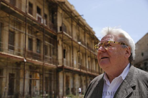 British film director Sir Alan Parker, in Malta for the second edition of the Valletta Film Festival during which his 1978 film Midnight Express is being screened, visits Fort St Elmo, where most of the film was shot, in Valletta on June 4. Photo: Darrin Zammit Lupi