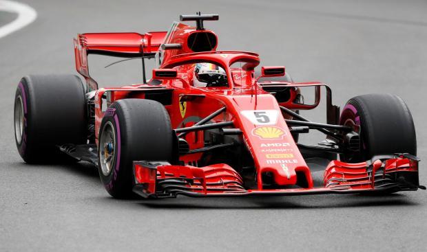 Sebastian Vettel drives his Ferrari at the Baku circuit.